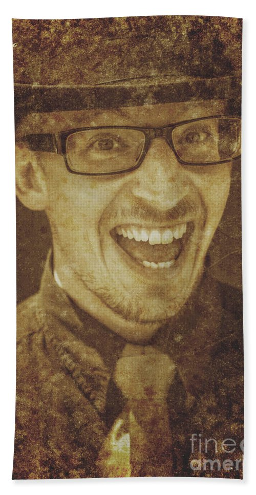 Face Hand Towel featuring the photograph Retro Sales Men by Jorgo Photography - Wall Art Gallery
