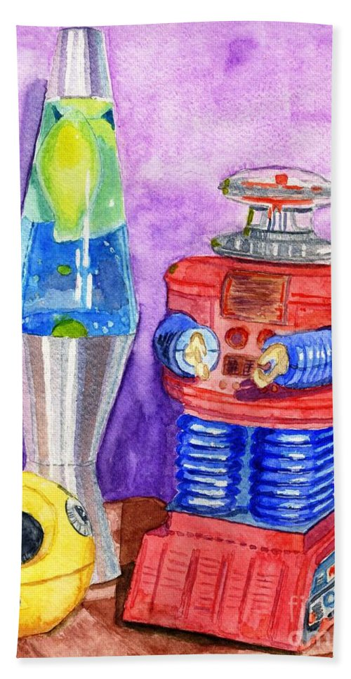 Watercolor Bath Sheet featuring the painting Retro Toys by Lynne Reichhart