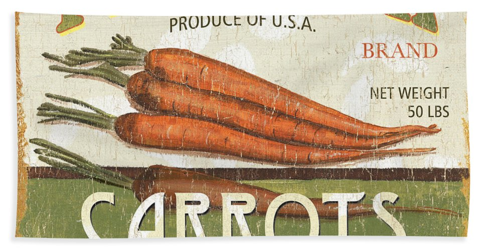 Food Hand Towel featuring the painting Retro Veggie Label 2 by Debbie DeWitt
