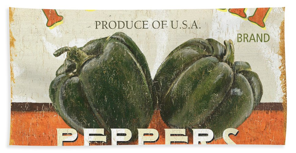 Food Hand Towel featuring the painting Retro Veggie Labels 3 by Debbie DeWitt