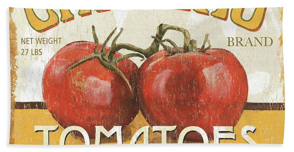 Food Bath Towel featuring the painting Retro Veggie Labels 4 by Debbie DeWitt
