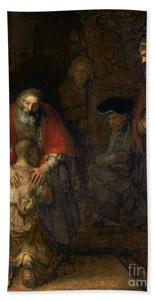 Return Bath Towel featuring the painting Return Of The Prodigal Son by Rembrandt Harmenszoon van Rijn