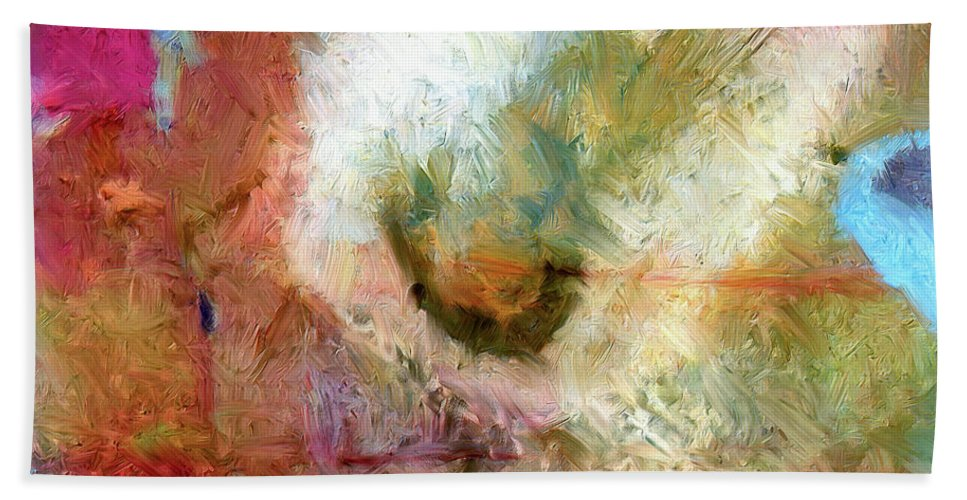 Abstract Hand Towel featuring the painting Returning by Dominic Piperata