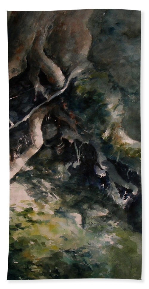Nature Bath Towel featuring the painting Revealed by Rachel Christine Nowicki