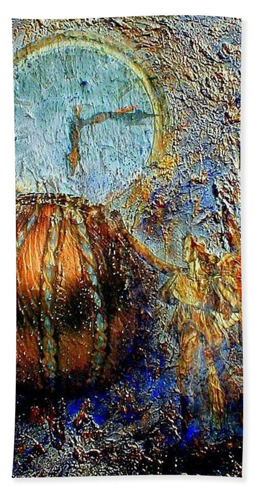 Christian Bath Sheet featuring the mixed media Revelation by Gail Kirtz