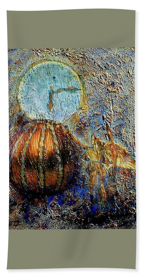 Christian Hand Towel featuring the mixed media Revelation by Gail Kirtz