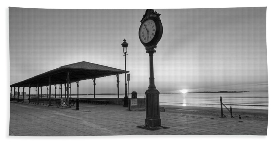 Revere Hand Towel featuring the photograph Revere Beach Clock At Sunrise Revere Ma Black And White by Toby McGuire