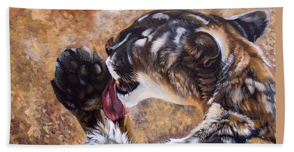 Catamount Bath Sheet featuring the painting Reverie by J W Baker