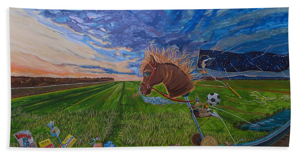 Fantasy Hand Towel featuring the painting Revisiting, The Childhood Ride by Lazaro Hurtado