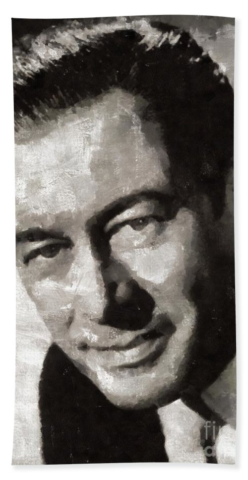 Hollywood Bath Sheet featuring the painting Rex Harrison, Vintage Hollywood Legend by Mary Bassett