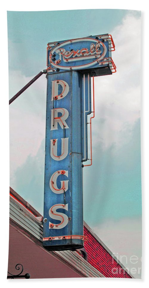 Rexall Hand Towel featuring the photograph Rexall Drugs by Jost Houk
