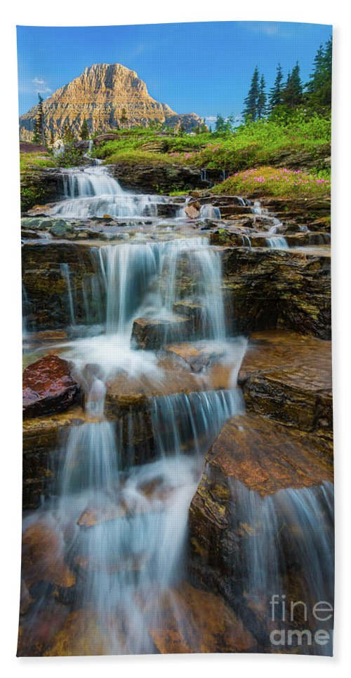America Hand Towel featuring the photograph Reynolds Mountain Waterfall by Inge Johnsson