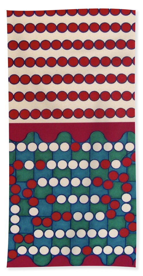 Red & White Dots Hand Towel featuring the drawing Rfb0411 by Robert F Battles