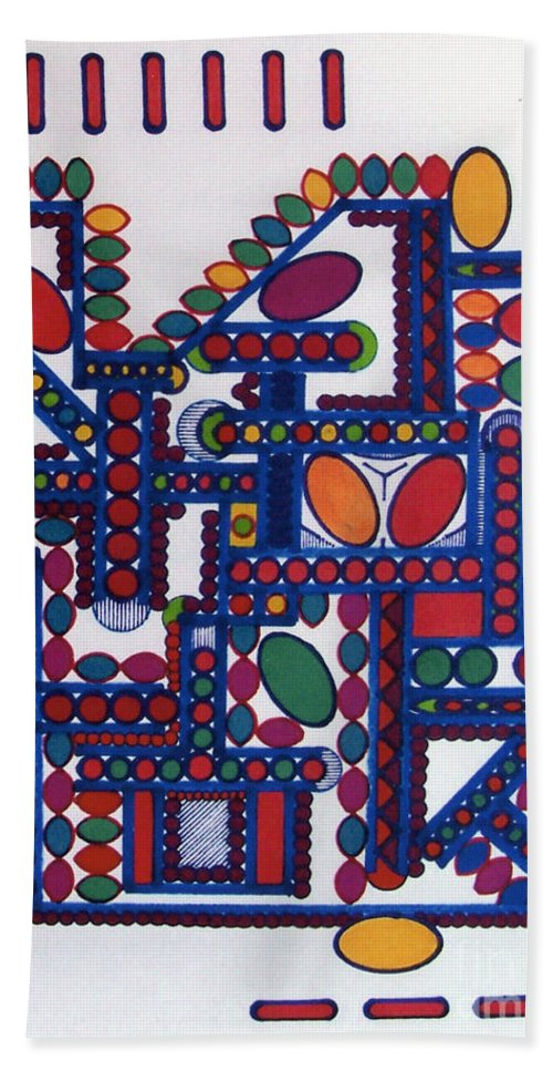Colorful Dots Hand Towel featuring the drawing Rfb0412 by Robert F Battles