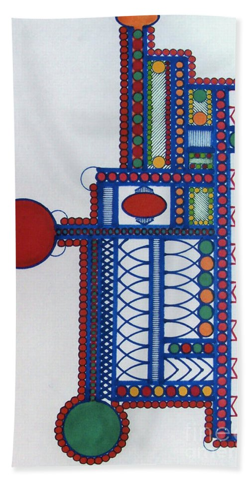 Abstract Towers Hand Towel featuring the drawing Rfb0414 by Robert F Battles
