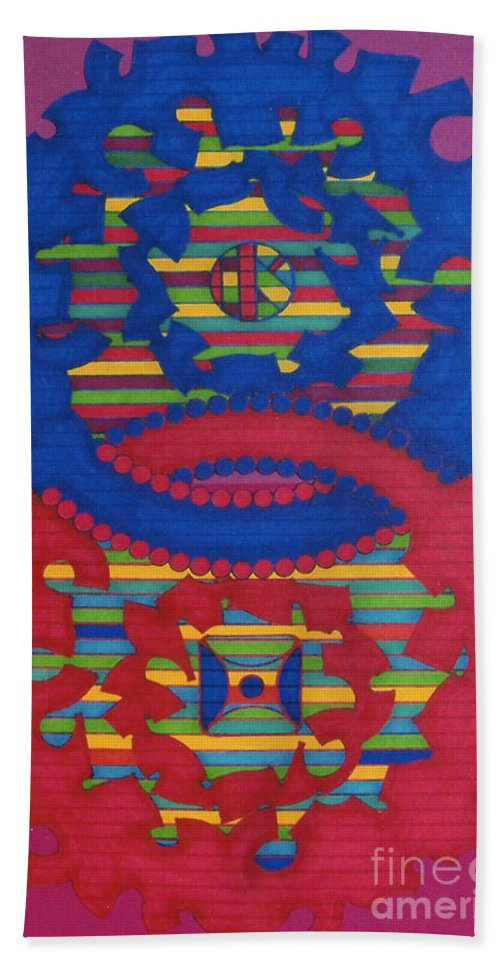 Purple Haze Hand Towel featuring the drawing Rfb0418 by Robert F Battles