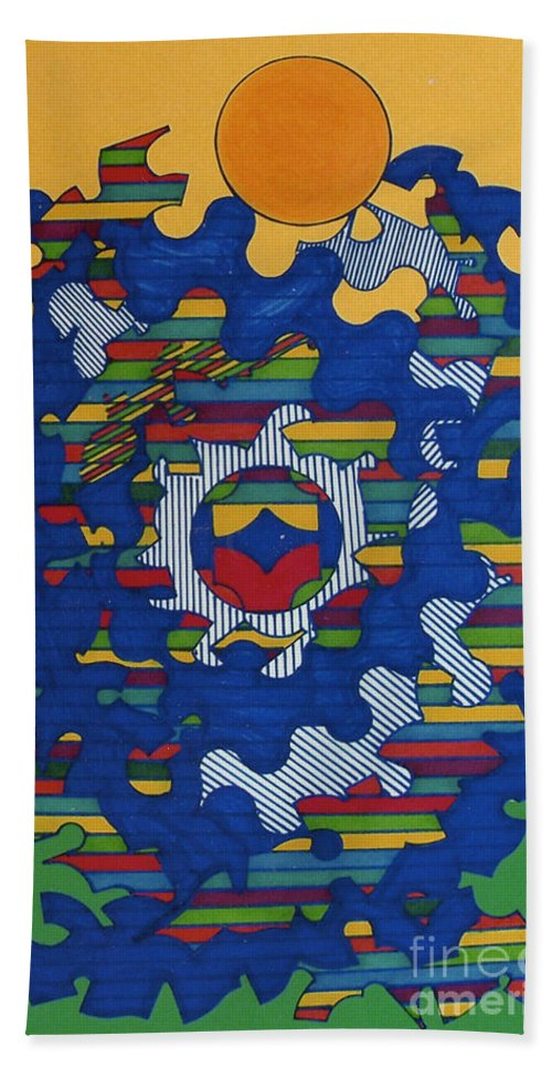 Brilliant Sun Hand Towel featuring the drawing Rfb0419 by Robert F Battles