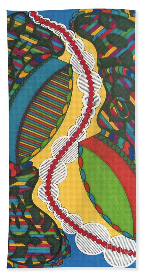 Abstract Hand Towel featuring the drawing Rfb0421 by Robert F Battles