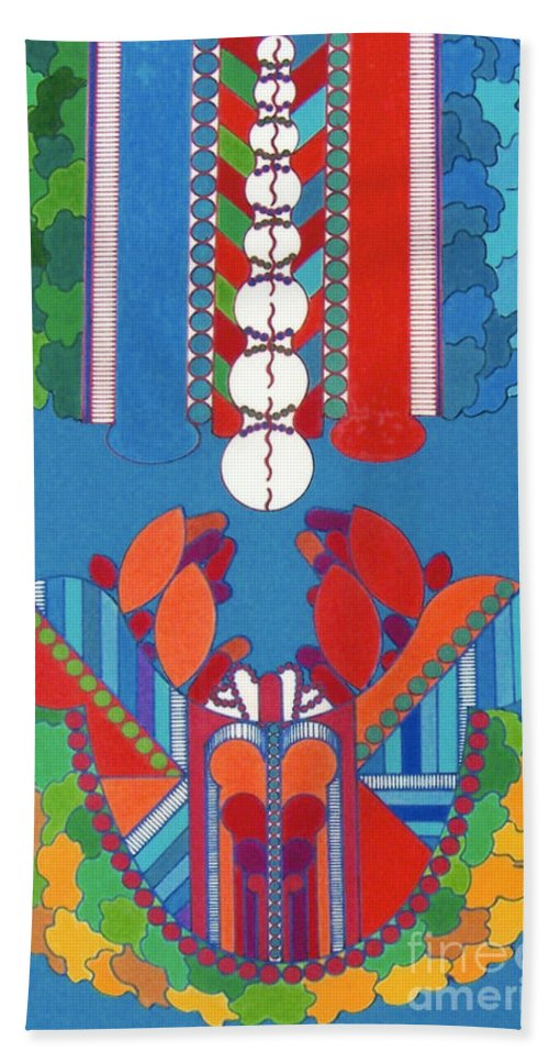 Abstract Crustation Hand Towel featuring the drawing Rfb0431 by Robert F Battles