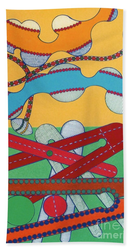 Boomerang Sky Hand Towel featuring the drawing Rfb0433 by Robert F Battles