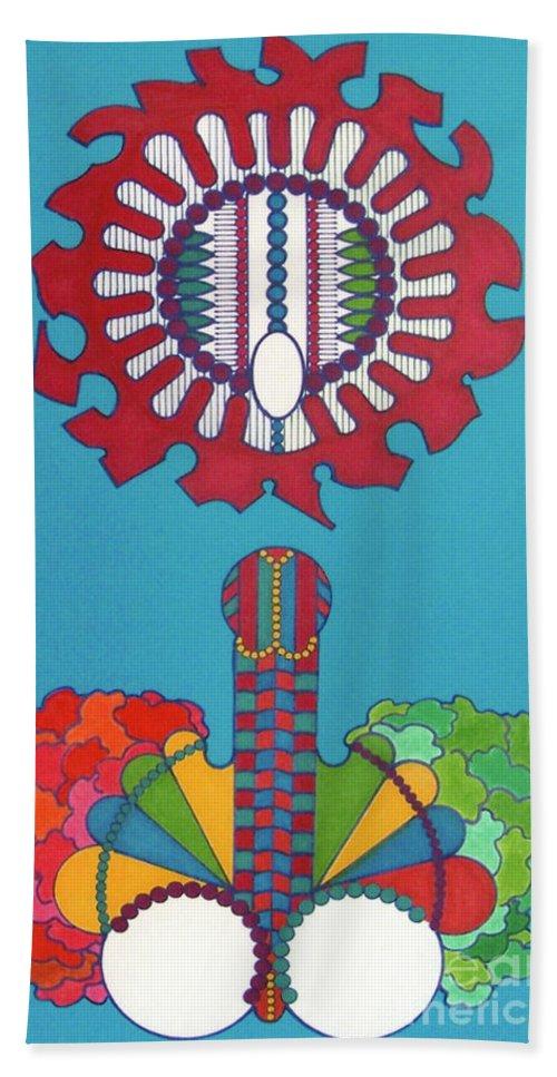 Abstract Bloom Hand Towel featuring the drawing Rfb0434 by Robert F Battles