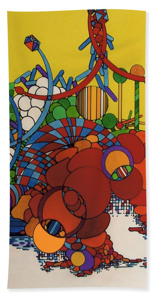 Abstract Theme Hand Towel featuring the drawing Rfb0507 by Robert F Battles