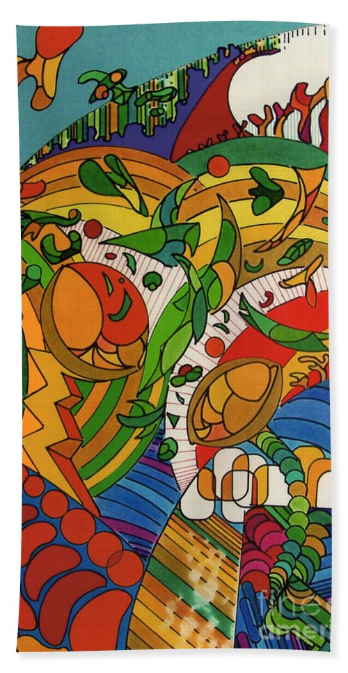Rolling Hills Of Fantasy Hand Towel featuring the drawing Rfb0513 by Robert F Battles