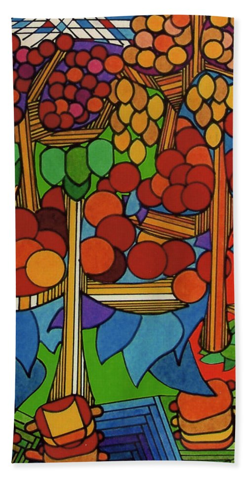Apple Orchard Hand Towel featuring the drawing Rfb0528 by Robert F Battles