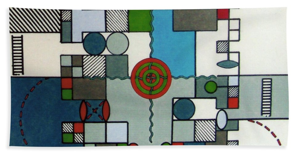 Abstract Hand Towel featuring the drawing Rfb0568 by Robert F Battles