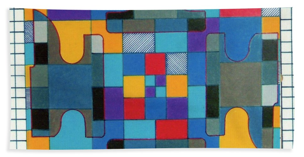 Puzzled Hand Towel featuring the drawing Rfb0570 by Robert F Battles