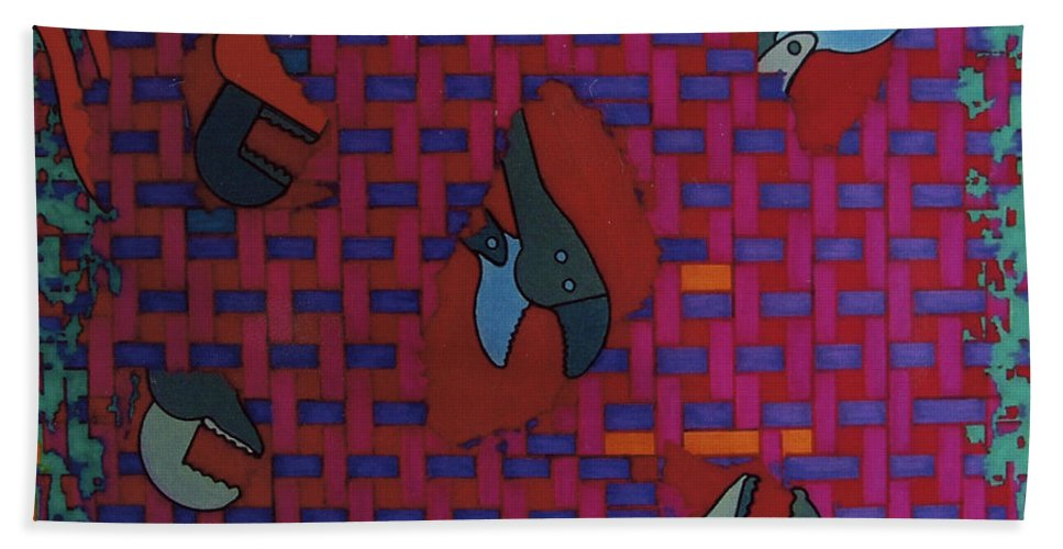 Tool Weave Abstract Hand Towel featuring the drawing Rfb0638 by Robert F Battles