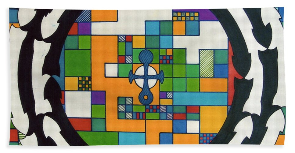 Celtic Cross Hand Towel featuring the drawing Rfb0712 by Robert F Battles