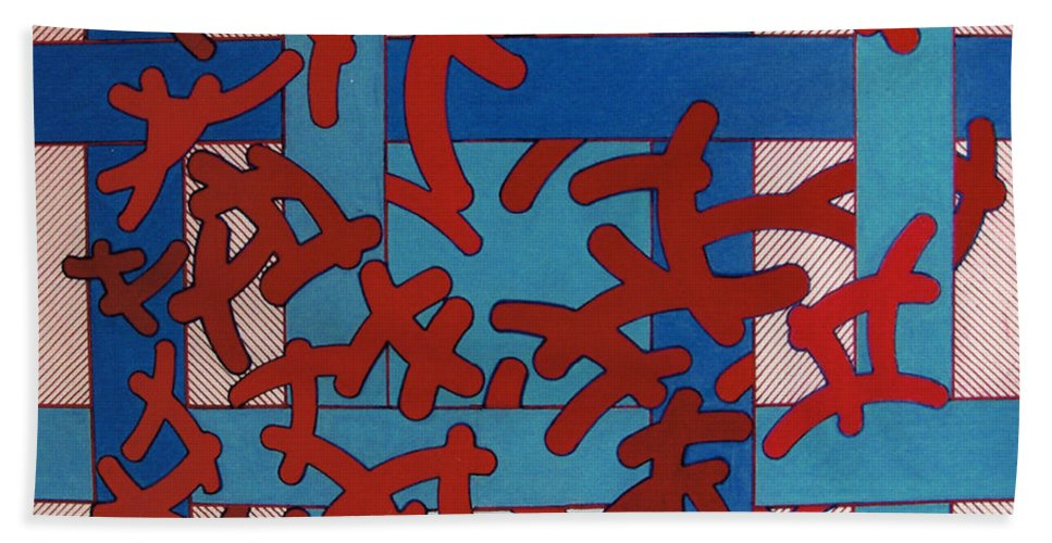 Abstract Hand Towel featuring the drawing Rfb0805 by Robert F Battles