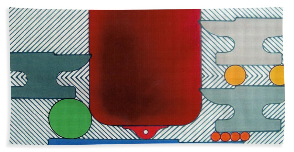 Abstract Hand Towel featuring the drawing Rfb0929 by Robert F Battles