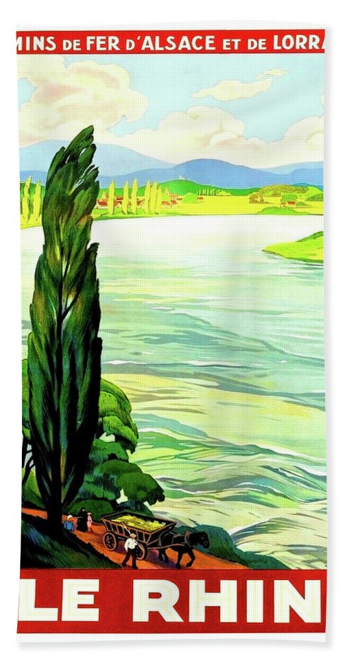 Rhine River Hand Towel featuring the painting Rhine River, Alsace, France by Long Shot