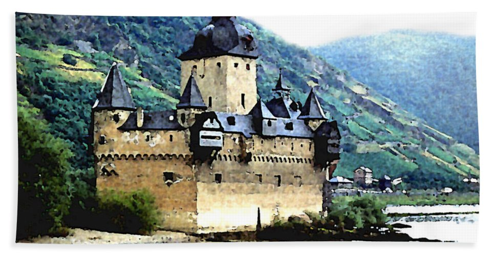 Castle Bath Sheet featuring the painting Rhine River Castle by Paul Sachtleben