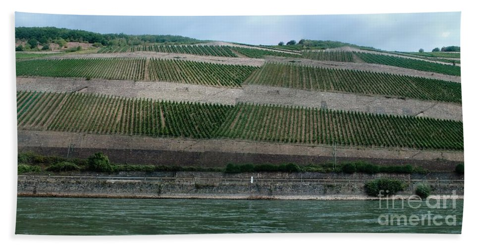 Rhine Hand Towel featuring the photograph Rhine Valley Vineyards Panorama by Thomas Marchessault