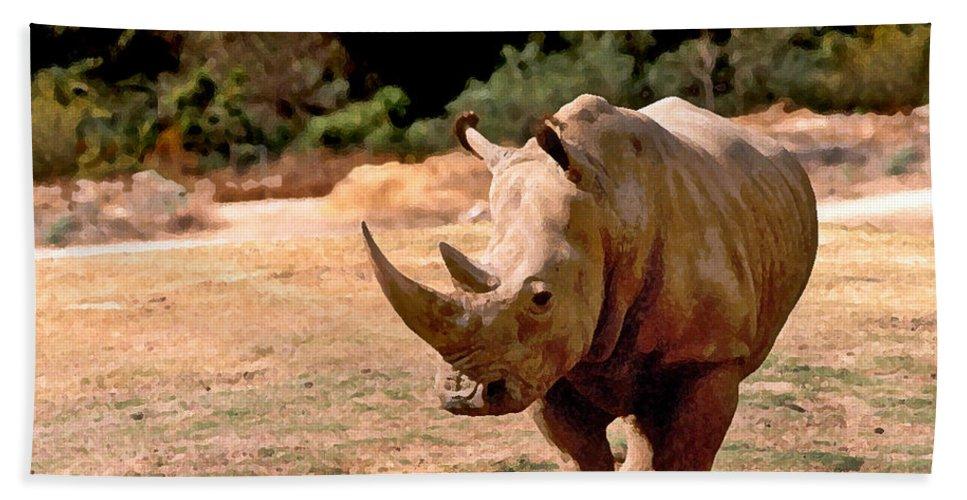 Animal Bath Sheet featuring the painting Rhino by Steve Karol