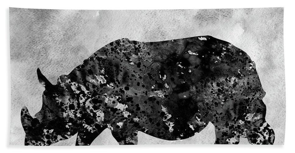 Rhinoceros Bath Sheet featuring the digital art Rhinoceros-black by Erzebet S