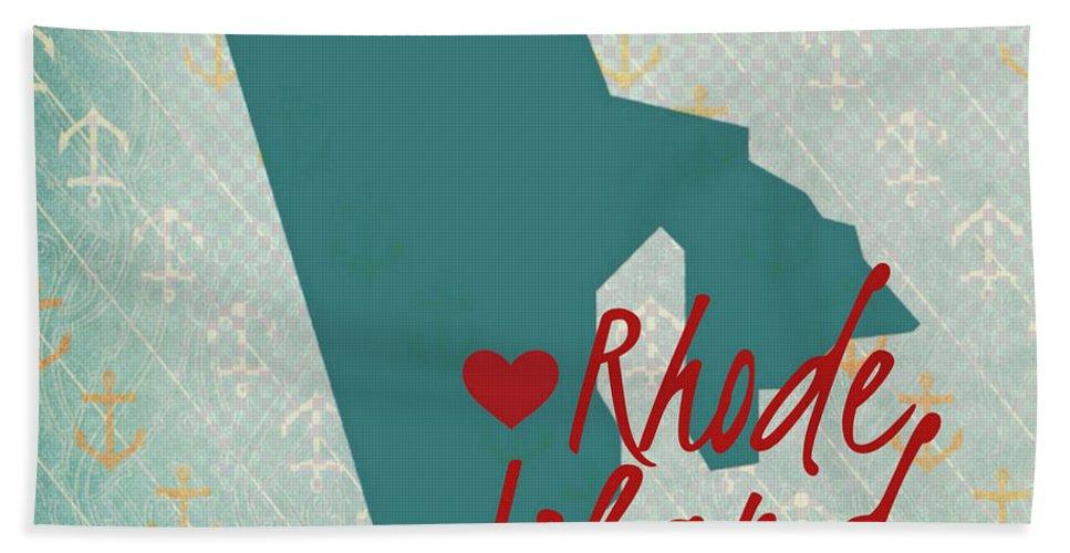 Brandi Fitzgerald Bath Sheet featuring the digital art Rhode Island Anchors by Brandi Fitzgerald