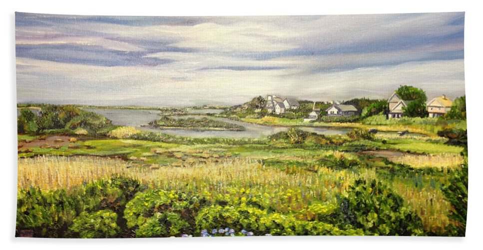 Rhode Island Bath Sheet featuring the painting Rhode Island Coast by Richard Nowak