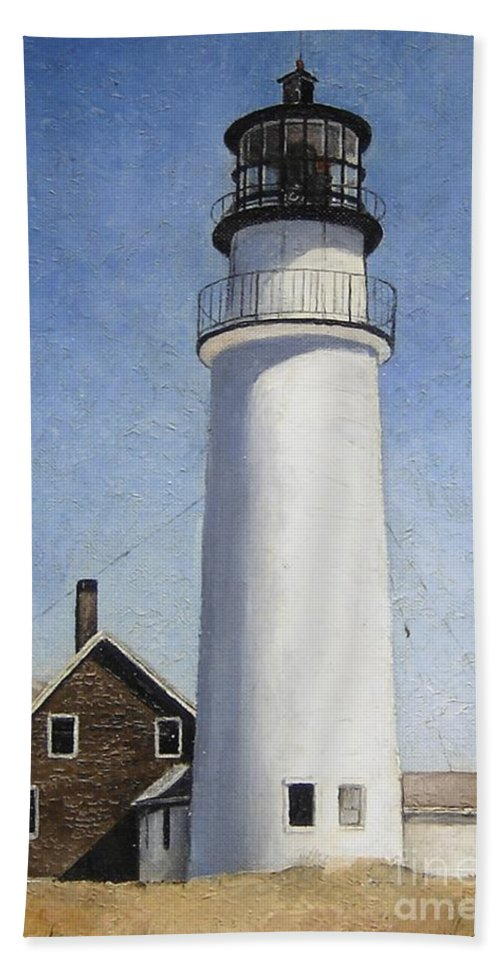 Lighthouse Bath Sheet featuring the painting Cape Cod Light by Mary Rogers