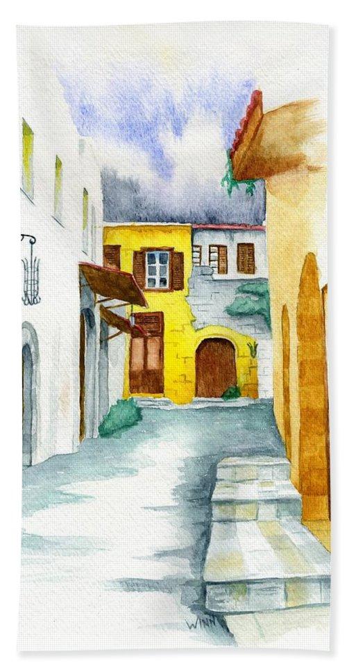 Rhodes Bath Sheet featuring the painting Rhodes Greece by Brett Winn