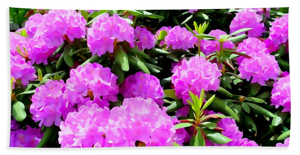 Digital Art Bath Sheet featuring the photograph Rhododendrons In Bloom by Ed Weidman