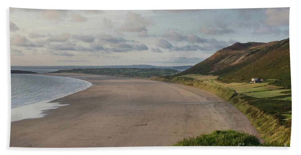 Sunset Hand Towel featuring the photograph Rhossili Bay, South Wales by Perry Rodriguez