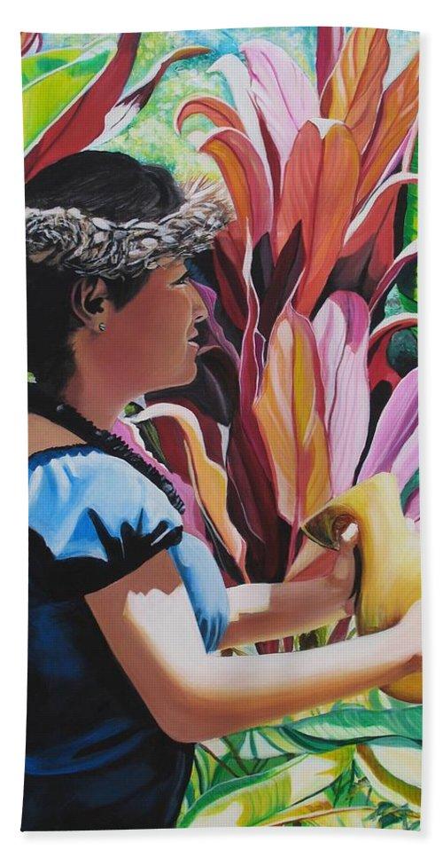 Rhythm Bath Sheet featuring the painting Rhythm Of The Hula by Marionette Taboniar