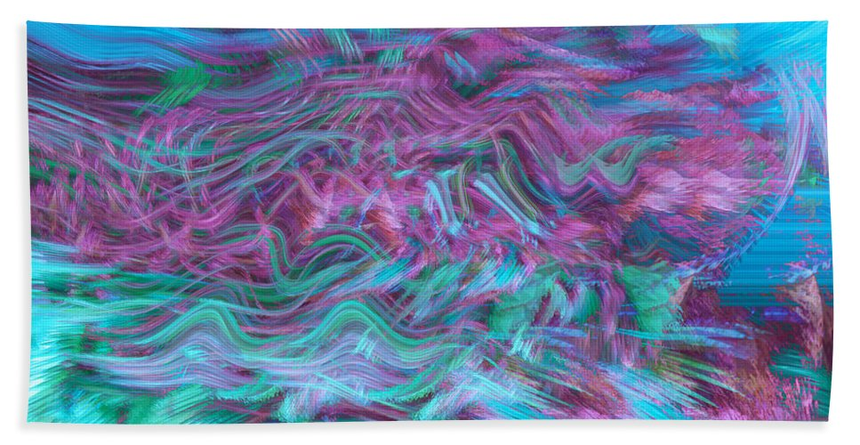 Abstract Art Bath Sheet featuring the digital art Rhythmic Waves by Linda Sannuti