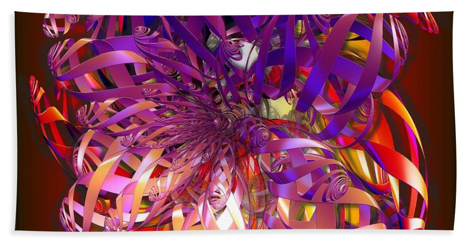Abstract Hand Towel featuring the digital art Ribbons by Ron Bissett
