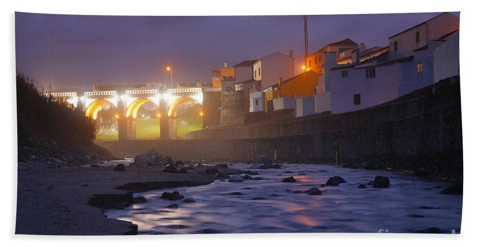 Ribeira Grande Bath Towel featuring the photograph Ribeira Grande At Night by Gaspar Avila