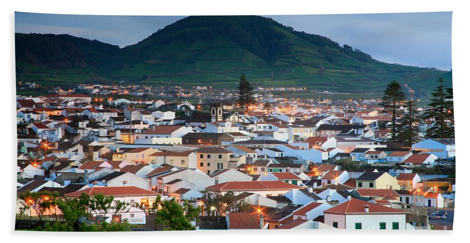 Europe Hand Towel featuring the photograph Ribeira Grande At Nightfall by Gaspar Avila